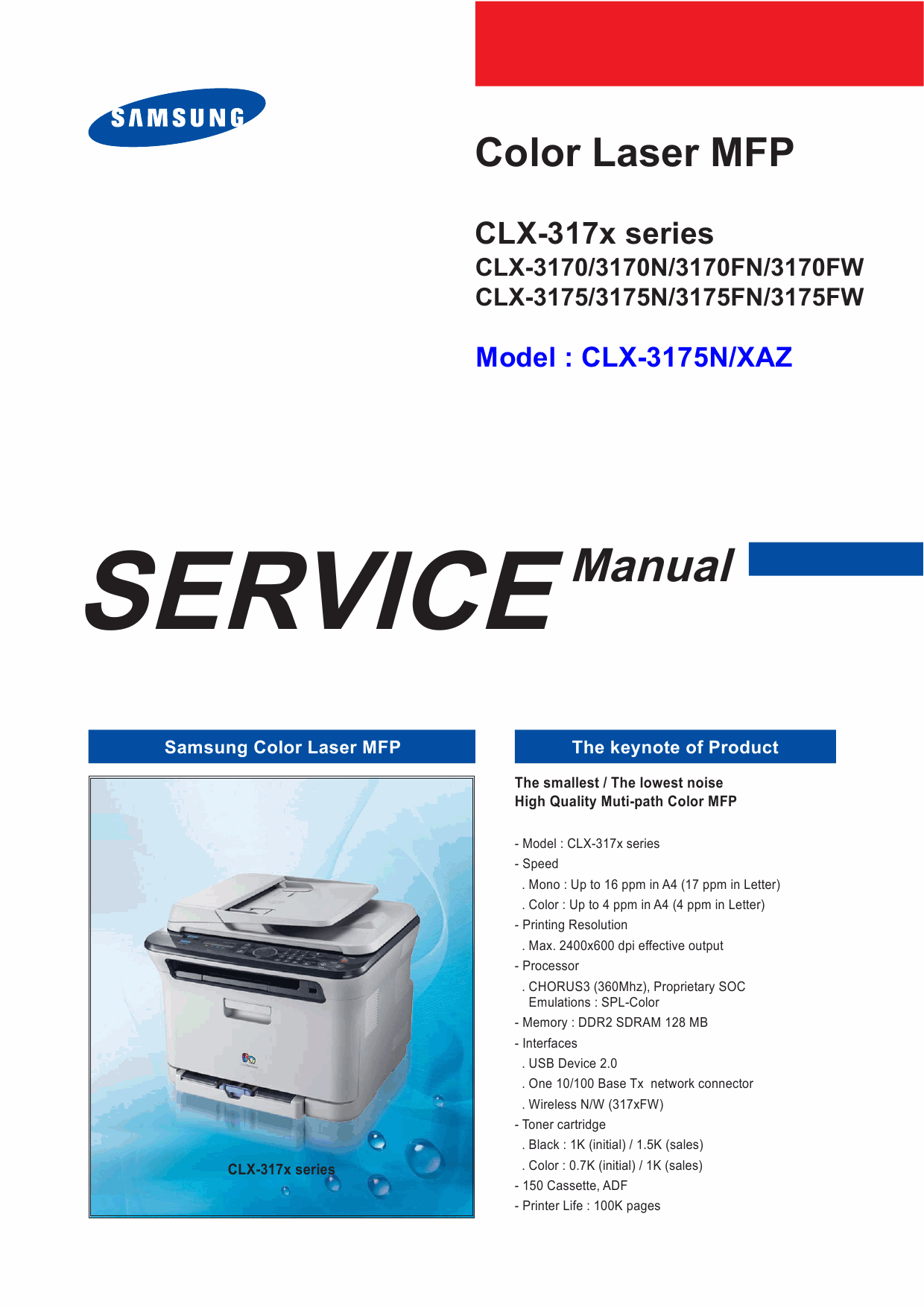 Samsung Digital-Color-Laser-MFP CLX-3170 3175 N FN FW Service and Parts Manual-1